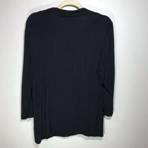 Grace Tops - GRACE Black 3/4 Sleeve Top, Size XL